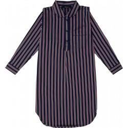 Natskjorte Ambassador, herrenatskjorte med brystlomme i 100% bomuld med brystlomme , blå, rød og hvidstribet.